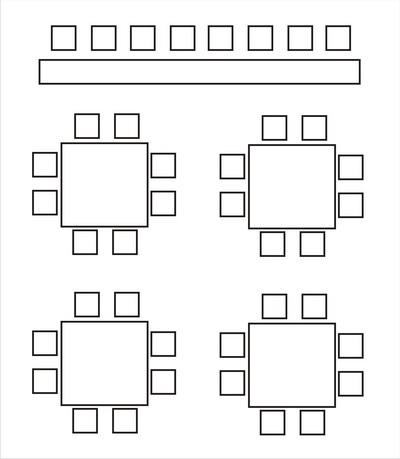 Расположение столов и размещение гостей на банкете.